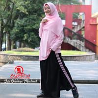 setelan baju celana senam muslim training wanita olahraga yoga sport - Biru, M