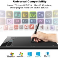 Digital Drawing Tablet for Painting 10x6 w/Rechargeable Pen For PC