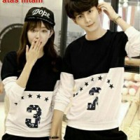 Baju Couple Lengan Panjang / Kaos pasangan / Kopel Black 3 Star 11115
