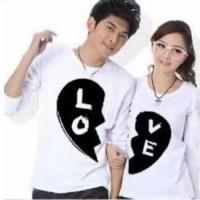 Baju Couple Lengan Panjang / Kaos pasangan / Kopel Black Love 11113