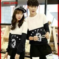 Baju Couple Lengan Panjang / Kaos pasangan / Kopel Black 3 Star 11114