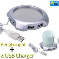 Alat Penghangat Kopi Teh Portable + 4 USB Port | Coffee Cup Warmer