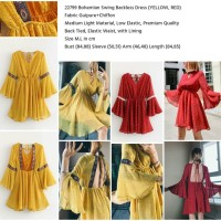 Bohemian Swing Backless Dress (YELLOW,RED size M,L) -22799
