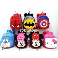 Tas Ransel Anak Boneka Spiderman Batman Doraemon Minnie Hello Kitty
