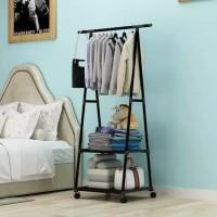 Triangle Stand Hanger Serbaguna Dengan 4 Roda
