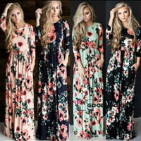 Long Dress Maxi Gaya Boho Motif Bunga Untuk Wanita /Cocktail