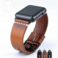 Light Brown - Genuine Leather Strap For Apple Watch 42mm Series 1-2-3
