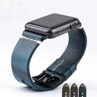 Blue - Genuine Leather Strap For Apple Watch 42mm Series 1-2-3