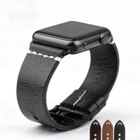 Black - Genuine Leather Strap For Apple Watch 42mm Series 1-2-3