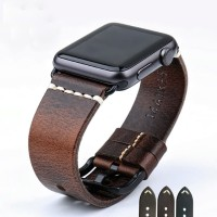 Dark Brown - Genuine Leather Strap For Apple Watch 42mm Series 1-2-3