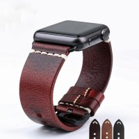 Red - Genuine Leather Strap For Apple Watch 42mm Series 1-2-3