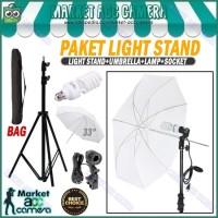 PAKET LIGHT STAND + SINGLE LAMP HOLDER + LAMP 45W + UMBRELLA WHITE 33
