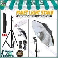 PAKET LIGHT STAND+SINGLE LAMP HOLDER+LAMP 45W+UMBRELLA BLACK/SILVER 33