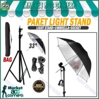 PAKET LIGHT STAND 190CM+SINGLE LAMP HOLDER+UMBRELLA BLACK/SILVER 33