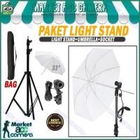 PAKET LIGHT STAND 190CM + SINGLE LAMP HOLDER + UMBRELLA WHITE 33
