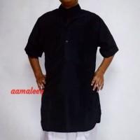 Pakistan lengan pendek hitam polos