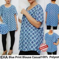 VIEHA Blue Print Casual Blouse Brand murah