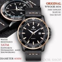 Jam Tangan kasual Pria WWOOR 8834 Tali Kulit Anti Air - Original