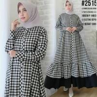 Baju Gamis Wanita Terbaru Motif Kotak/Baju Muslim Kekinian