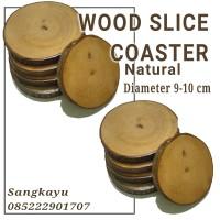 Natural wood coaster tatakan kayu bulat alami