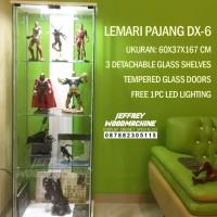 Lemari pajang kaca hot toys lego piring gelas koleksi murah dx-6 dx6