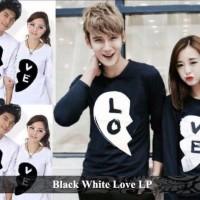 kaos lengan panjang | kaos kembar | baju kembar | black white love lp