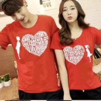 Baju Couple Kaos Oblong Pasangan Soulmate Love Care Merah 11120
