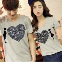 Baju Couple Kaos Oblong Pasangan Soulmate Love Care Abu 11118