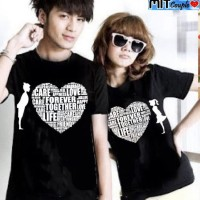 Baju Couple Kaos Oblong Pasangan Soulmate Love Care Hitam 11119