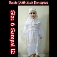 Gamis Putih Anak Perempuan Busana Muslim Putih Anak Bahan Dobby 6-12
