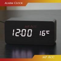 Jam Meja Alarm LED Wood Kayu Digital Temperature Meja Rumah Kantor