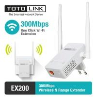 TOTOLINK EX200 Wireless N Range Extender 300Mbps Penguat sinyal WIFI