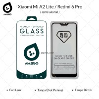 Tempered Glass 5D Xiaomi Mi A2 Lite / Redmi 6 Pro Full Cover Ambigo - Hitam