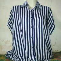 Kemeja blouse salur putih biru