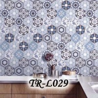 TR A STICKER LANTAI TEGEL WALLPAPER ROLL FLOORING PARQUET STICKER