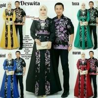 Baju Batik Couple Deswita Rok panjang Hem Kemeja Cowok Lengan Pendek
