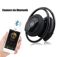 Headset Bluetooth Jogging Sport Music Wireless FM MP3 Nirkabel - Hitam