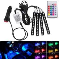 Lampu LED RGB + Remote Kolong Mobil isi 4 pcs / Lampu LED Warna