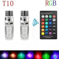 Lampu LED RGB T 10 isi 2 Pcs + Remote Mobil Motor / Lampu Warna