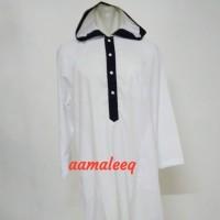Gamis hoodie putih kombinasi hitam
