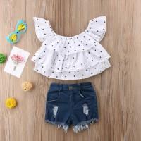 setelan baju murah model sabrina putih dan hot pants for baby girl