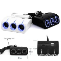 Charger Mobil Colokan USB 3 Soket Lighter 12V/24V Warna Hitam/Putih