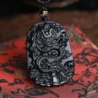 Kalung liontin bandul batu obsidian ukiran china naga hitam buddha