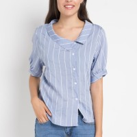 Mineola Collar Neck Striped Top Blue - 11805155FU