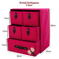 Kotak Serbaguna 5 Laci WINE RED (Kotak utk tempat pakaian dalam)