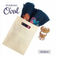 Per 20pc Tas Spunbond 20x26cm Oval Krem Polos Goodiebag Shopping Bag