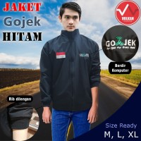 Jaket Gojek Bahan Taslan Balon Import Waterproof Anti Air - black