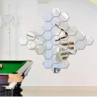 DIY Stiker Dinding 12Pcs Model Cermin Bahan Akrilik Gambar Heksagonal