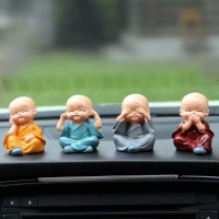 4pcs miniatur patung budha biksu botak dekorasi pajangan mobil figure