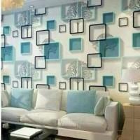 wallpaper / wallsticker dinding motif 3D biru 45 cm x 10 m